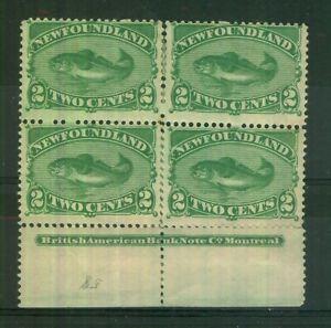 Canada Newfoundland 1896-98 2c green SG64 Mounted Mint Block of 4 Faults CV £480