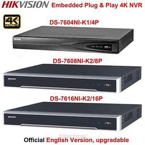 Hikvision DS-7604NI-K1/4P DS-7608NI-K2/8P DS-7616NI-K2/16P Plug&Play 4K NVR PoE