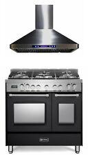 "New listing Verona Prestige Vpfsge365De 36"" Dual Fuel Range Double Oven Hood Matte Black"