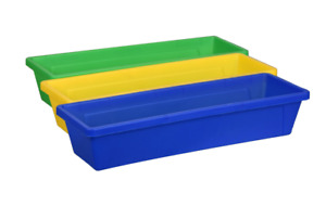Teaching Tree Storage Tray Plastic 3 Piece Set  ~ Blue, Yellow, Green
