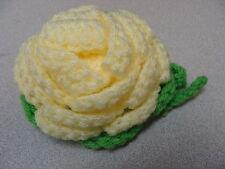 Luggage Bag Identifyer ID Tag Crochet Rose Light Yellow Apple Green