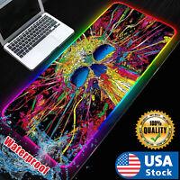 USA RGB LED Extra Large Soft Gaming Mouse Pad Oversized Glowing 31.5x12''