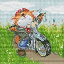 NEW UNOPENED Counted Cross Stitch KIT Snow White 176 Catorcyclist Motorcycle CAT