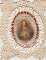 Antikes Heiligenbildchen (Spitzenbild) wertvolle Klosterarbeit Apostleship