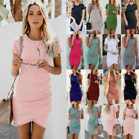 UK Womens Crew Neck Bodycon Sundress Ladies Summer Asymmetric Party Mini Dress