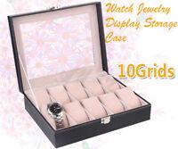 10 Slots Wrist Watch Box Leather Jewelry Display Storage Holder Case Organizer