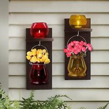 TIED RIBBONS Wooden Wall Decoration Wood Wall Shelf with Flower Vase and Tlight