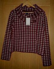 New ADRIENNE VITTADINI red & grey 15% wool cardigan top jacket Size L 14-16