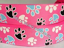 "1 METRE PINK DOG PAW PRINT GROSGRAIN RIBBON 22MM 7/8""HAIR BOW CAKE CARD BIRTHDAY"