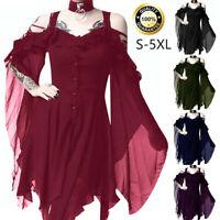 Women's Dark In Love Ruffle Sleeves Off Shoulder Gothic Midi Dress S-5XL