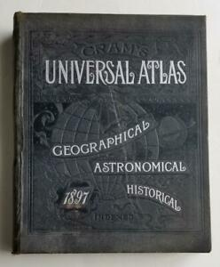 1897 Cram's Universal Atlas Geographical Astronomical Historical Maps - over 300