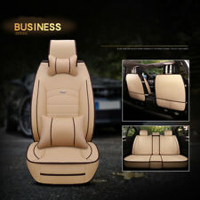 Full Set PU Leather Car Seat Cover Front+Rear 5 Seats Cushion W/Pillows L-Brown