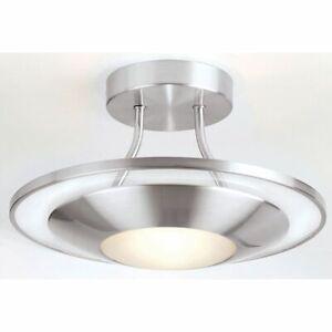 Endon Firenz 120W Light Semi-Flush Ceiling Light Satin Chrome & Glass 387-30SC