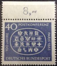 BRD 1963 1 Marke 100 Jahre Postkonferenz Mi 398, komplett, postfrisch