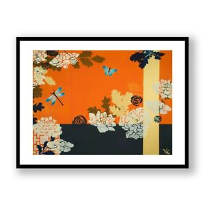 Butterfly and Flowers Framed Print , Orange Wall Art , Dragonfly And Plants Art