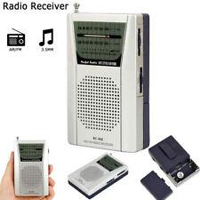 Mini Portable Pocket AM FM Radio Speaker Telescopic Antenna 3.5mm Earphone Jack
