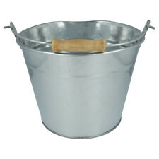 More details for galvanised steel metal bucket with wooden handle. multi purpose 5l