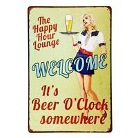 Happy Hour Welcome It's Beer O'clock Vintage Rustic Retro Tin Metal Sign