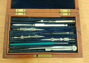 Vintage Antique Wooden Cased Technical Drawing Set Compass Engineers