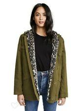 Mother Denim Sz XS Long Drawn Anorak MIlitary Jacket Hooded Faux Fur Lining $425