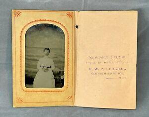 Antique Souvenir Tourist Tintype Photograph Old Orchard Beach, Maine 1/4 plate