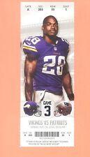 Patriots  Vikings Super Bowl Championship 2014 ticket stub Adrian Peterson photo