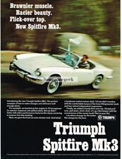 1967 Triumph White Spitfire MK 3 Vtg Print Ad