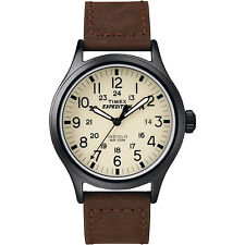Mens Timex Indiglo Expedition Brown Leather Band Cream Dial Date Watch T49963