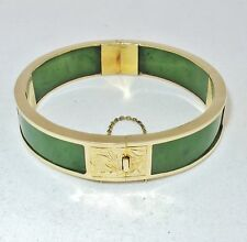Vintage Chinese 14K Yellow Gold Green Spinach JADE Bangle Bracelet  (37.4 grams)