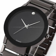 SINOBI Fashion Black Mens Round Dial Gunmetal Stainless Steel Quartz Sport Watch