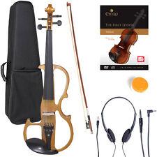 NEW 4/4 Ebony Electric Violin w/Pickup-Yellow,Style-2
