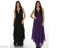 Dipped Frilled Hem Maxi Fully Lined Fitted Empire Line Gothic Lace Evening Dress
