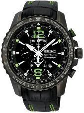 New Seiko SNAE97 Sportura Chronograph Black Dial Leather Mens Watch
