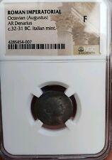 Octavian Augustus  c.32-31BC . Silver Denarius . NGC F . Roman Imperatorial
