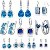 Women Fashion 925 Sterling Silver Aquamarine Hoop Dangle Earrings Studs Jewelry