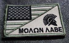 MOLON LABE SPARTAN USA FLAG TACTICAL ACU COMBAT MORALE 3 INCH HOOK PATCH
