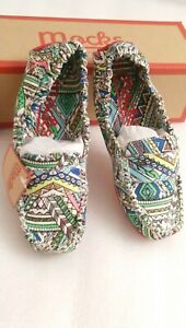 WOMENS SIZE 4 & 5 AZTEC CANVAS MOCKS FLATS SHOES LOAFERS MOCCASINS NEW & BOXED