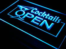 i014-b OPEN Cocktails Wine Bar Pub Club Neon Light Sign