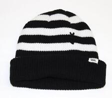 Vans Boast Beanie Knit Hat Womens Black White Striped Cuff Slouch New NWT OSFM