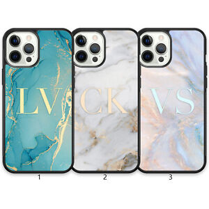 Personalised Marble Monogram Phone Case For iPhone 13 Pro Max 12 Mini 11 XR X 8