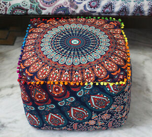 """New*18"""" Square Indian Mandala Ottoman Pouf Cover Footstool Home Décor at Peacock"""