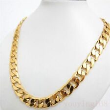 """SALE 14K Yellow """" Gold Filled """" Heavy 10mm Curb Link Chain Men Necklace  p922"""