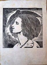 Bois gravé original, XXe, Profil de femme et Colombe