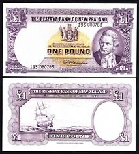 New Zealand NZ  1 Pound - Fleming ND (1956-67) w/ Thread P. 159d  VF/+ Note