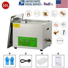 10l Digital Ultrasonic Cleaner Kit Ultra Sonic Bath Timer Jewellery Cleaning Us