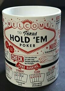 Texas Hold 'Em Poker Learn to Play Ceramic Coffee Mug Cup Ginger Fox Like New