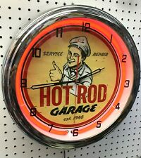 "16"" HOT ROD Garage Service Repair Sign Neon Wall Clock"