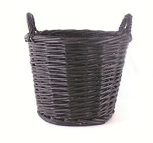 Black Charcoal 2-Handled Woven Basket Waste Trash Garden Multi-use Basket
