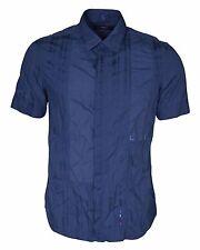 French Connection Blu Camicia Cotone Manica Corta Uomo TAGLIA S