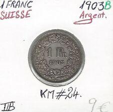SUISSE - 1 FRANC - 1903 B - Pièce de Monnaie en Argent // Qualité: TTB